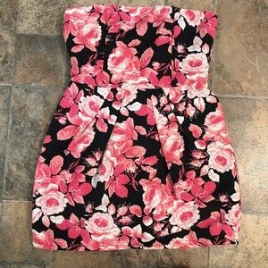 Strapless dress-black and pink floral size large